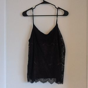 Lace Black and Maroon Tanktop